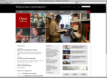 [screenshot of new Wesleyan University homepage]