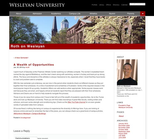 Roth on Wesleyan, version 2